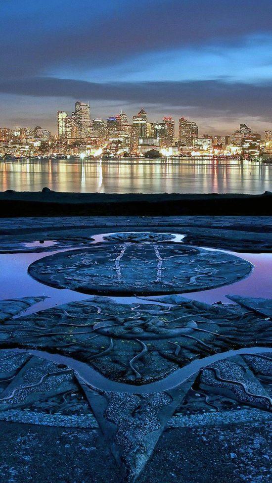 Seattle Skyline, Washington. Across Lake Union from the Gasworks Park Sundial.