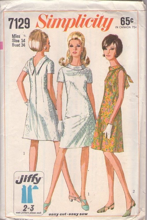 Simplicity 7129 Vintage 60's Sewing Pattern FAB Mod Jiffy Red Carpet Cocktail Party Dress, V or Tie Back #MOMSPatterns