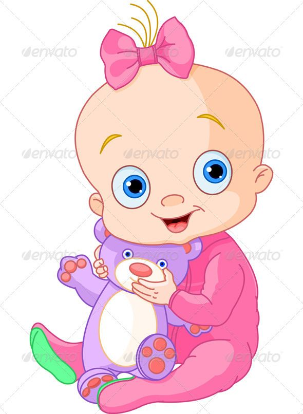 Cute Baby Girl with Teddy Bear ... adorable, baby, baby ...