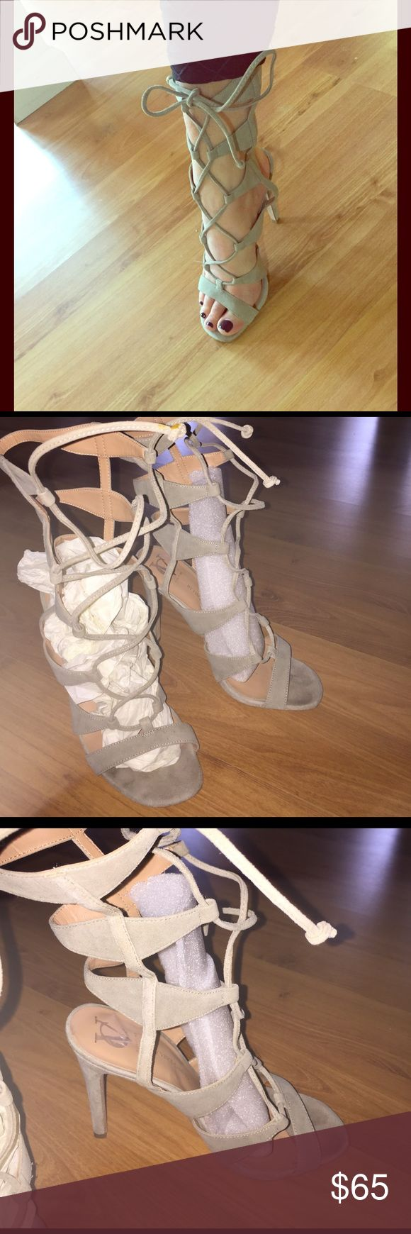 VC SIGNATURE gladiator sandal heels Taupe suede leather- made in Italy. Size 7.5 but fits a 7 foot and 7.5 foot. Super sexy lace tie up heel gladiator with a 4 inch heel. Worn- but in great condition. Vince Camuto Shoes Heels