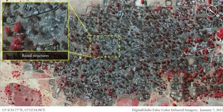 This Satellite image taken on Wednesday, Jan. 7, 2015 and released by Amnesty International of the village of Doron Baga in north-eastern Nigeria, shows after it was allegedly attacked by members of the Islamic extremist group Boko Haram. (AP Photo/ Micah Farfour, DigitalGlobe via Amnesty International) ▼15Jan2015AP International force mulled to fight Boko Haram in Nigeria http://bigstory.ap.org/article/8cc9df6949e74853ac411cf2bb01c840