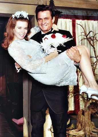 Johnny Cash and June Carter getting hitched in 1968.