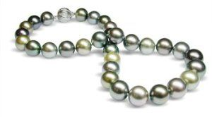 13.1 x 15.4mm multicolor black Tahitian south sea cultured pearl necklace 19""