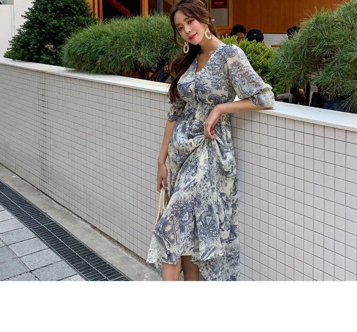 Ppgirl puffsleeve patterned maxi dress yesstyle maxi