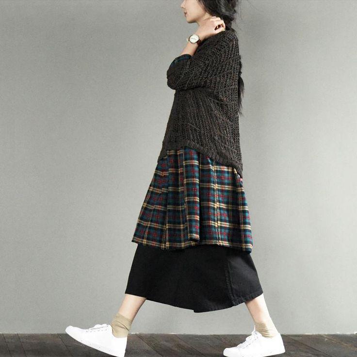 (Sans the socks...)Plaid Grid Simply Maxi Size Dress Plus Size Fashion Women Clothes L658 – FantasyLinen