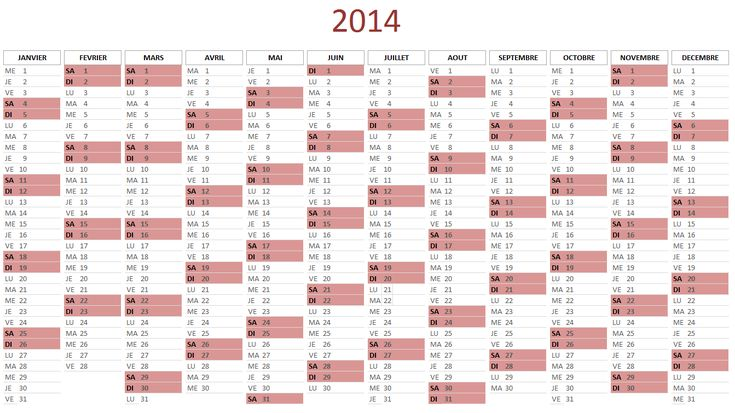 Calendrier 2014 gratuit au format Excel - Lecalendrier2014.com