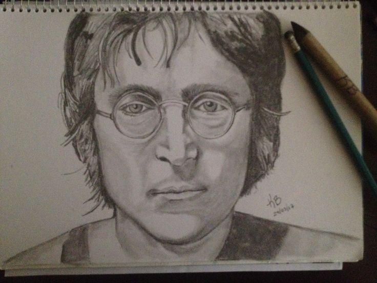Jhon Lennon dibujo a lápiz autora Karina Burgos