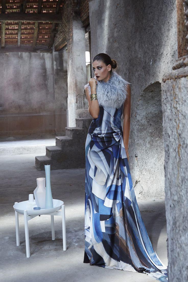 #dress #silk #tailormade #evening #gown #moda #fashion #design #fashiondesign #fashionista #fashiondesigner #madeinitaly #italy #robertaredaelli #colours #blue #grey #girl #woman #shooting #campaign #fall #winter #model