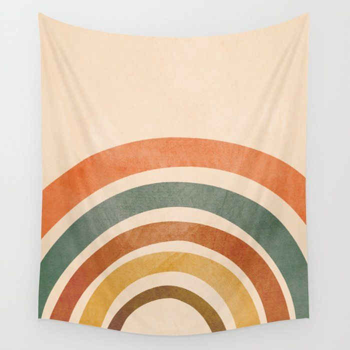 Retro Rainbow Wall Hanging Tapestry by City Art - Small: 51