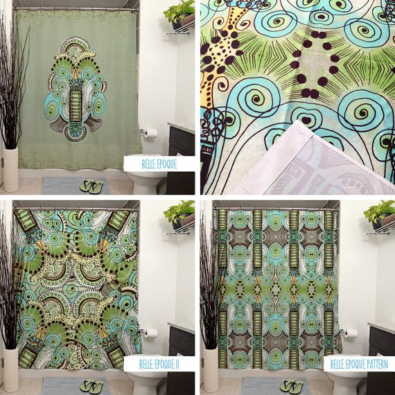 Belle Epoque Pattern Shower Curtains. Art by JanetAnteparaDesigns