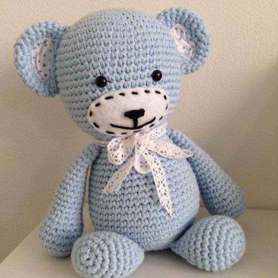 Gehaakte beer blauw van Love2HookCreations op Etsy