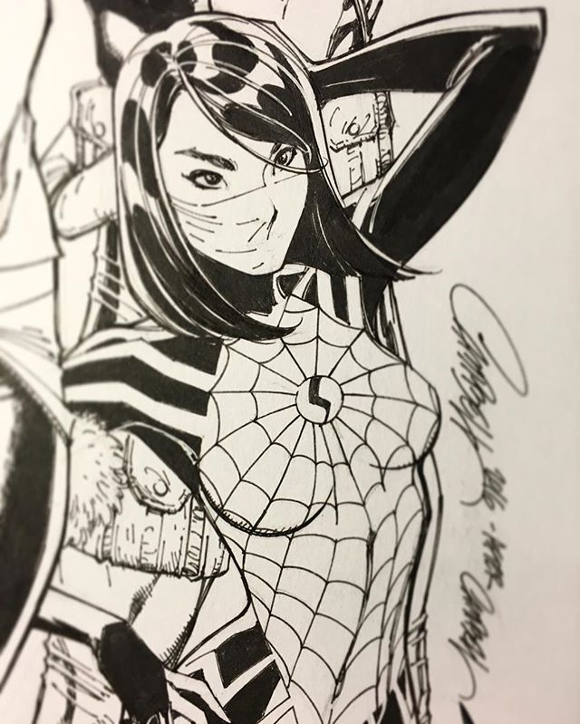 ✒️Close Up inks of SILK from my recent variant cover to Amazing Spider-Man #18  #deadpool #spiderman #silk #gen13 #comicbooks #comicbook #art #comicbookart #exclusive #jscottcampbell #drawing #inking #sketching #marvel #marvelcomics #xmen
