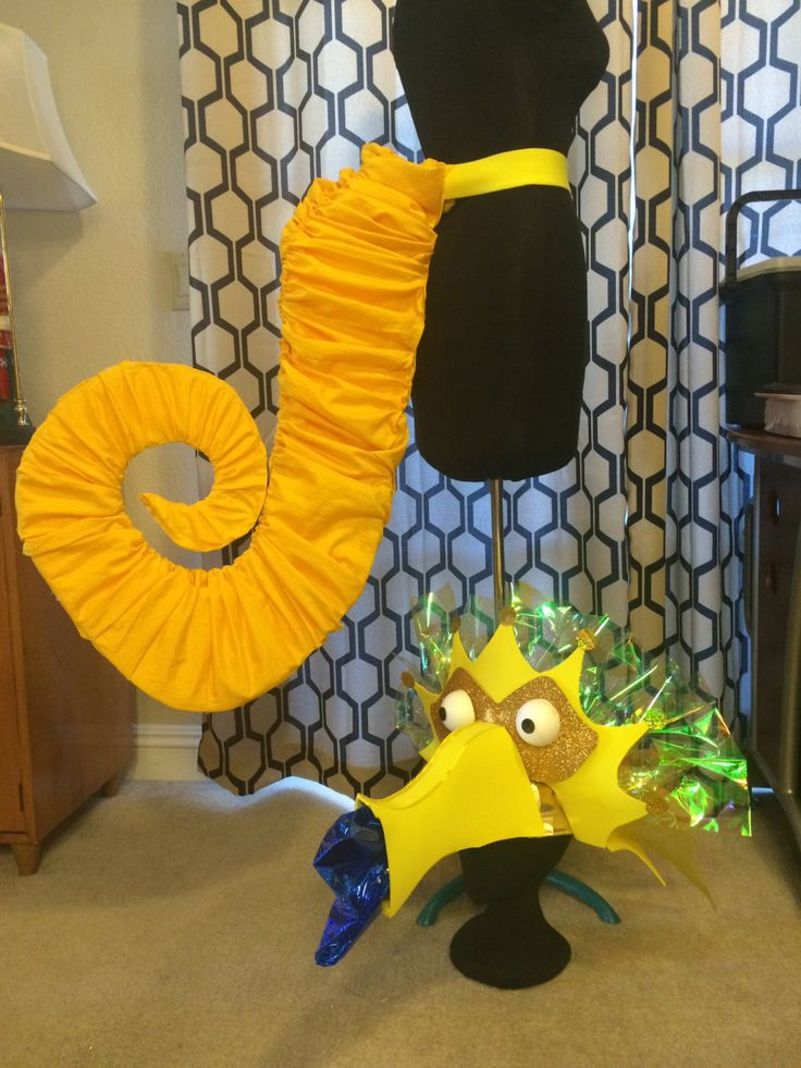 Seahorse yellow costume tail and headdress costumes for Puffer fish costume