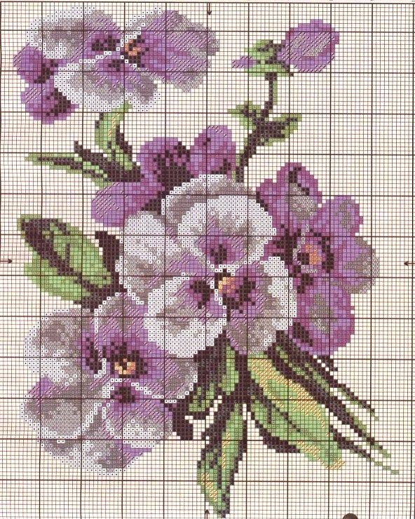 purple pansies chart embroidery
