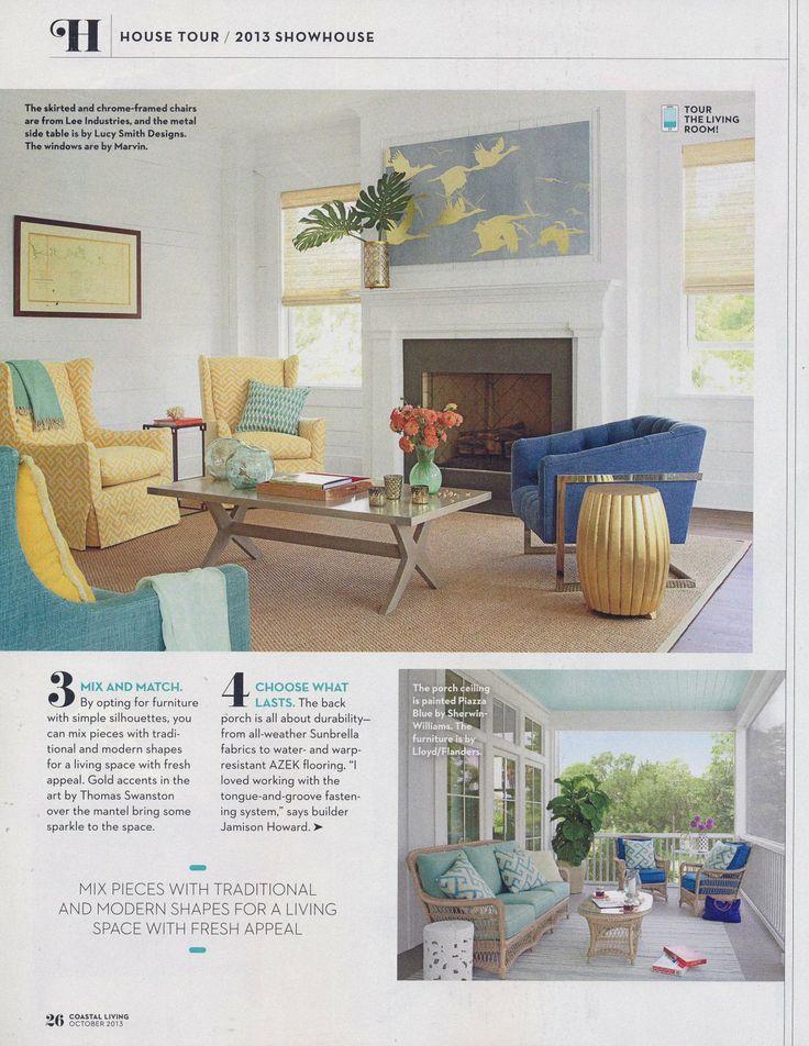 Beckham Stripe Light Blue Indoor/Outdoor Rug Featured In Coastal Living  Magazine.