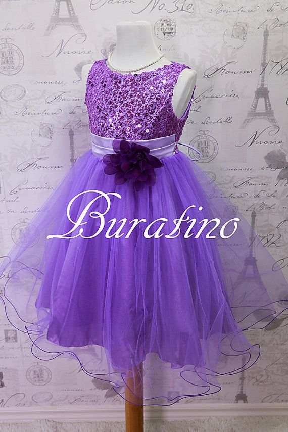 Flower Girl  Dress Lilac Purple, Red, Silver, Gold, Fuchsia, Sequin Double Mesh Flower Girl Toddler Special Occasion Wedding Dress