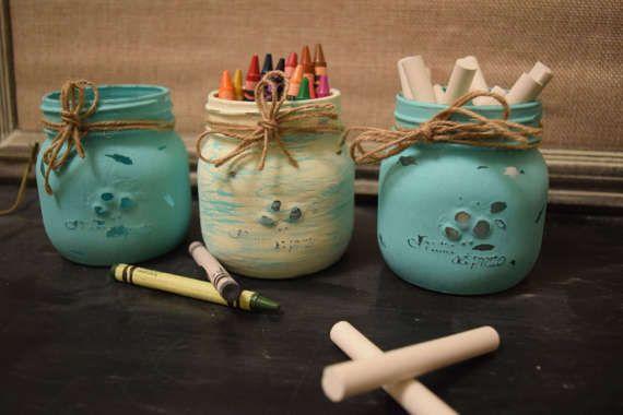 Check out Mason Jar, Maon jars bulk, painted mason jars, mason jar centerpieces, mason jar decor, home and living, rustic decor, teal mason jars on littlebarnworld