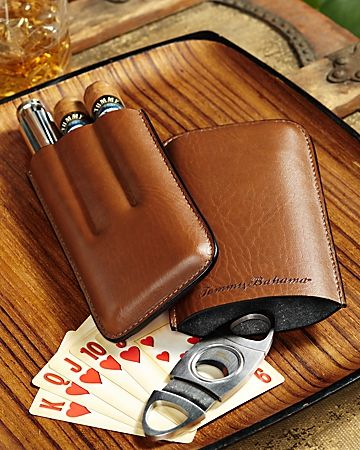 Tommy Bahama - Leather Cigar Tube, Flask and Cigar Cutter