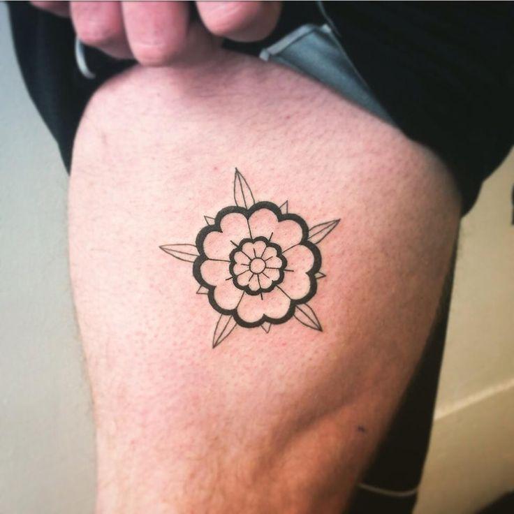 Simple tudor rose tattoo for Tyler || black linework tattoo traditional rose flower apprentice