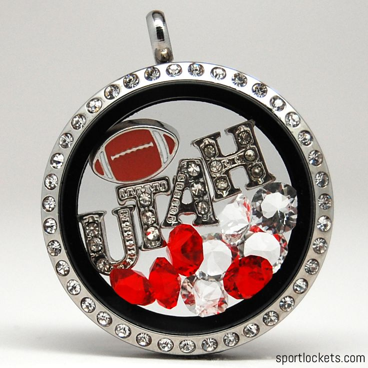 Utah football themed locket necklace from SportLockets.com.  Customize with your own letters!