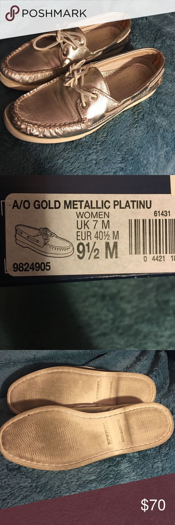Metallic gold sperrys Worn once, light wear in soles. Pictured label on box- however sale will not include box as its damaged. Will accept reasonable offers- no trades please. Purchased these at a jcrew store. Sperry Top-Sider Shoes Sneakers