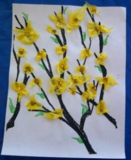 FIRST BLOSSOMS: Some of Spring's first blossoms are yellow forsythia. The three-year-old I care for full-time loves all flowers and squeals with joy when she sees the yellow forsythia. Clusters of one-inch-long, bell-shaped flowers range from pale to blazing yellow, only last for two to three weeks. So we made this craft so she can enjoy forsythia all year long on her bulletin board.