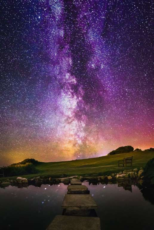 Stars and Milky Way above the Isle Of Wight, Britain - May 2015 Starry night sky - Solent News/REX Shutterstock/Rex Images