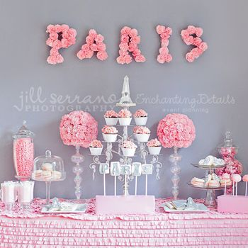 """Pink and gray are a gorgeous twist on the classic pink and black color scheme! This tablescape was created by Annina of Enchanting Details Event Planning for a Valentine's Day feature in a magazine. Annina said she chose Paris for her theme because """"it's the ..."""