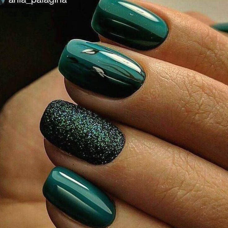 Christmas Tree And Mint Green With Glitter Accent In 2020 Green Nails Luxury Nails Nails