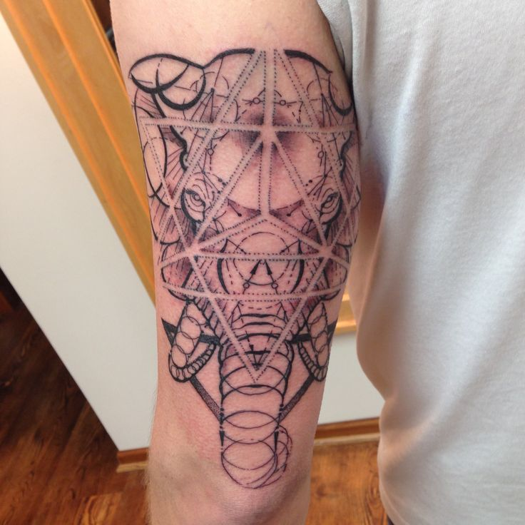 Geometric elephant sacred geometry design to memorialize for Eau claire tattoo
