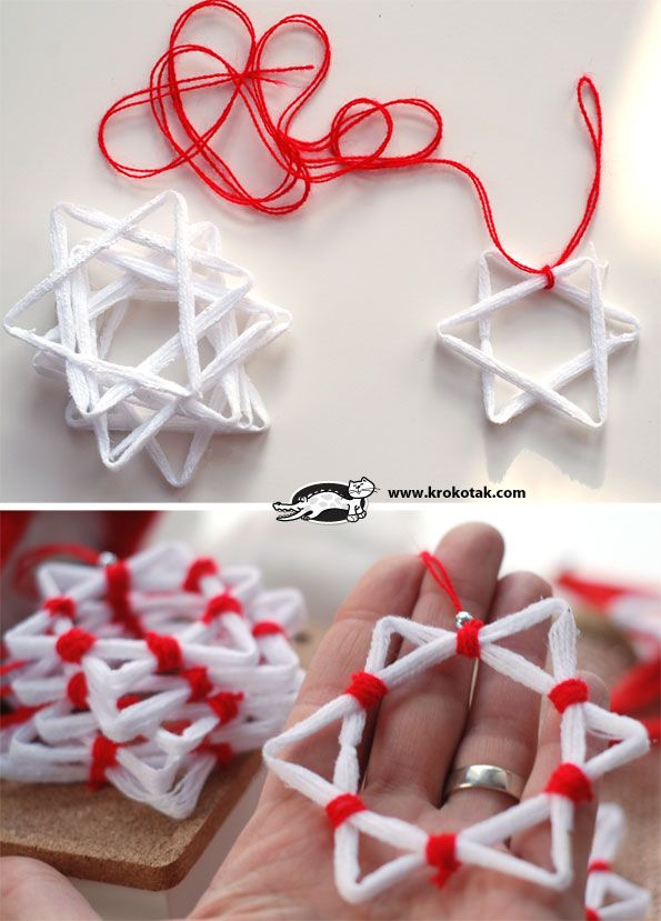 This would be EASY  with PipeCleaners..make a triangle, can use 1,2 or 3 stacked same color or different colors .. try to bring togethear where you will be wrapping pipecleaner or yarn,string,etc..offset  & stack 2 sets of triangles, put a little glue in that spot the ends join where you will wrap, before wrapping, finish wrapping other points as shown - using the string is a nice way and WILL KEEP THE INTEREST of older kids, which is very important - PVA Glue CHRISTMAS STARS | krokotak