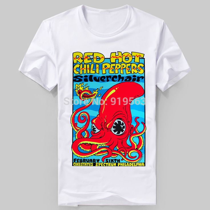Red Hot Chili Peppers sliver chair Big red octopus printing good quality tee shirt unisex summer cool
