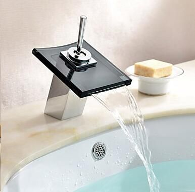 Contemporary Bathroom Square Glass spout  Waterfall Faucet Basin Sink Mixer Tap wash basin water tap mixer 5202