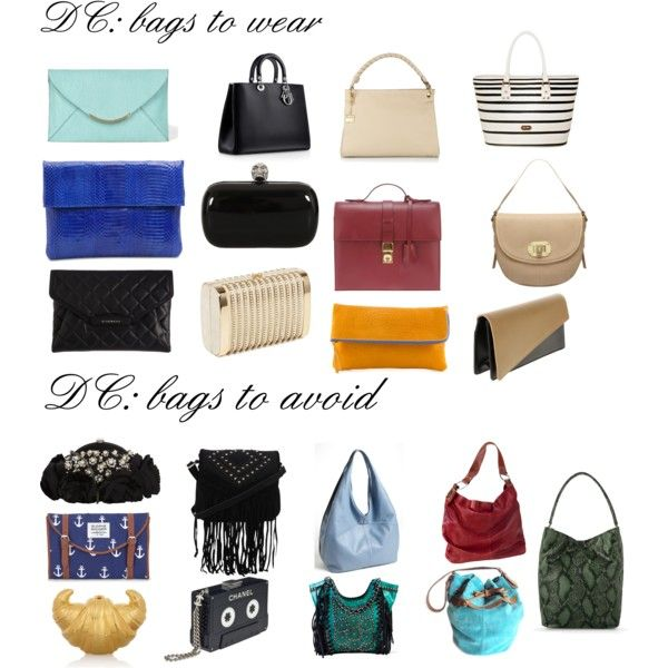 "Bags for Dramatic Classic by wichy on Polyvore | NOTE: Kibbe wrote, ""Crisply tailored bags. Envelopes, clutches, box-shaped bags. Metallic evening clutches. Narrow to medium briefcases, constructed, with a frame. Avoid: Overly delicate or ornate styles. Large, unconstructed styles."""