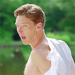 Benedict Cumberbatch, I could watch this .gif all day long.  I can imagine him doing that for his wife while she just giggles at him!