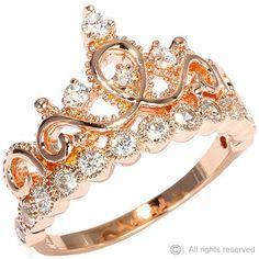 Rose Gold-plated Silver Princess Crown Ring – AZDBR5456RG