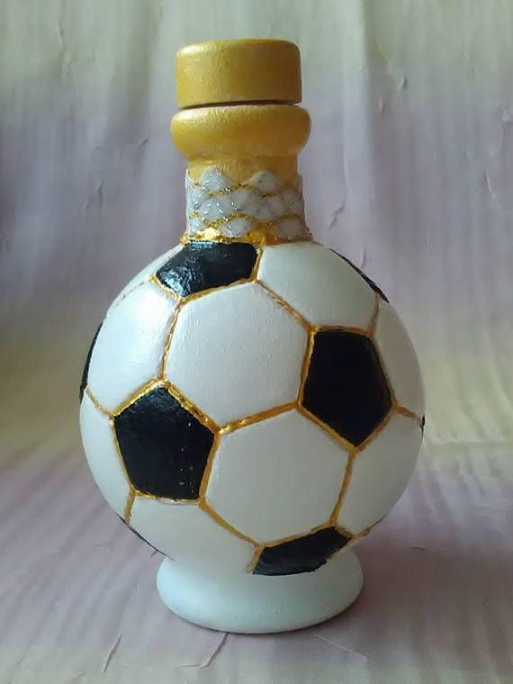 Glass mini bottle of football,hand painted.Soccer ball hand soccerball,giftfootballball ,soccerbottle,footballbottle ,bottle,blackandwhite