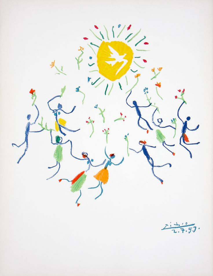 La Ronde (Circle Of Friendship) By Pablo Picasso Drawn Bird on Potato For Rita's World Peace Poster, based on Picasso's drawings