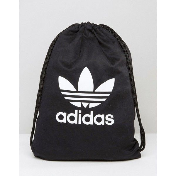 adidas Originals Drawstring Backpack With Trefoil Logo (1,215 DOP) ❤ liked on Polyvore featuring bags, backpacks, black, adidas bag, handle bag, backpack bags, cotton backpack and adidas backpack