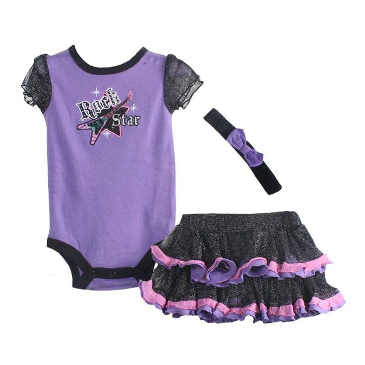 """""""Rock Star"""" 3 piece romper outfit //Price: $17.99 & FREE Shipping //     https://babyclothingusa.com/product/lil-princess-3-piece-romper-outfit-copy/  #babyclothingusa #babylove"""