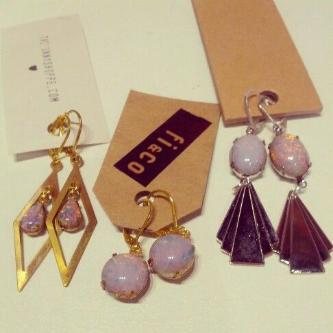 @thebunnyshoppe #earrings with #harlequin #opal in #pink left & right $29 middle $40