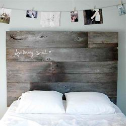 Tete de lit - Get inspired by natural headboards and you can create your own using salvaged woods - a great weekend project!  (via designsponge).