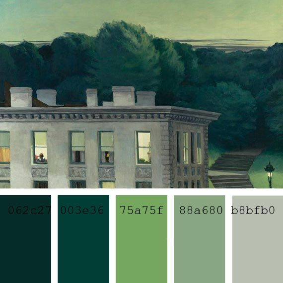 Paleta de color verde pintura edward hopper color - Paleta de pinturas ...