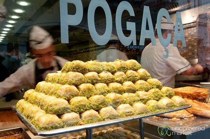 Baklava, pictured here on Istanbul's Istiklal Avenue, is one of the best sweet treats you can find in Turkey.