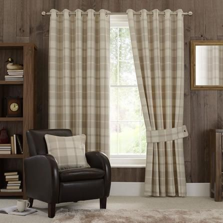 Dunelm Highland Tartan Check Natural Brown Eyelet Curtains (228cm x 182cm)