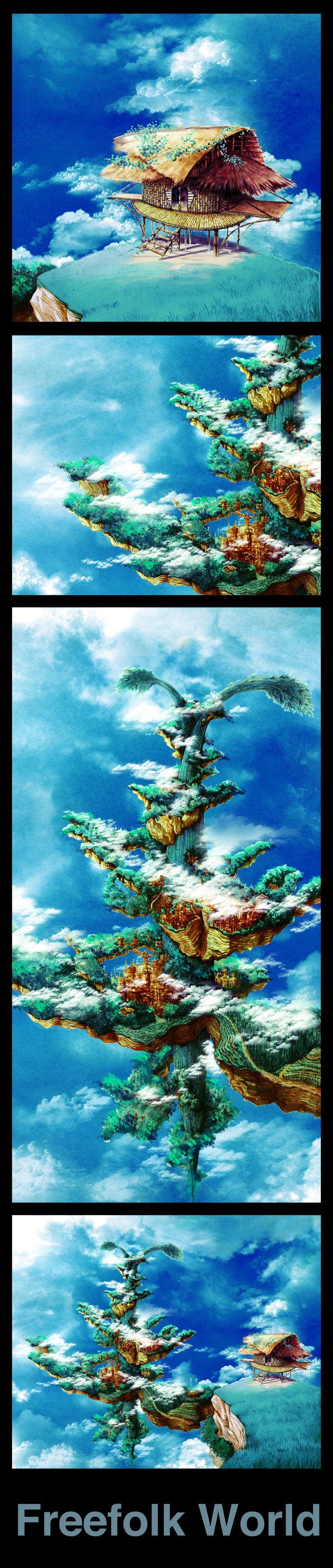 #BambooVillage #GiantBamboo #Hut #FlyingMountain #clouds #watercolor #conceptart #BlueGreen #blueSky #laputa
