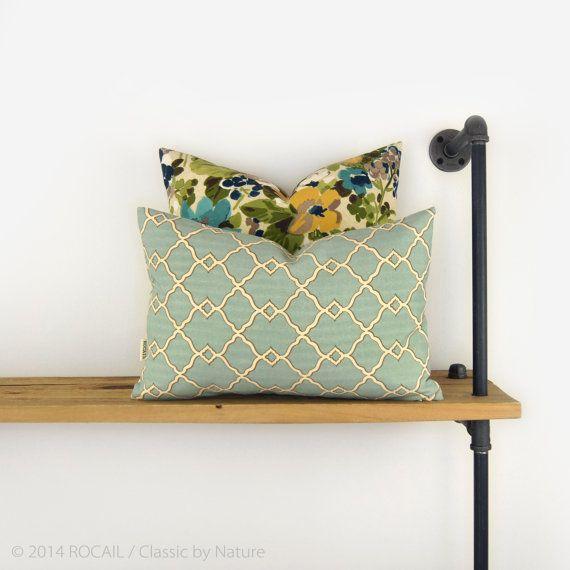 Morrocan outdoor pillow - Mint green - Modern decor - Garden trellis in aqua and beige pillow case - 12x18 throw decorative pillow cover