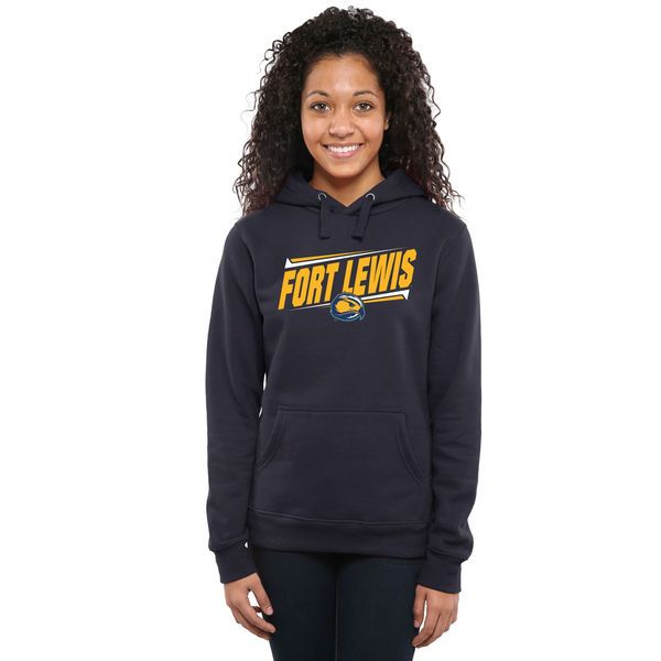 Fort Lewis College Skyhawks Women's Double Bar Pullover Hoodie - Navy - $44.99