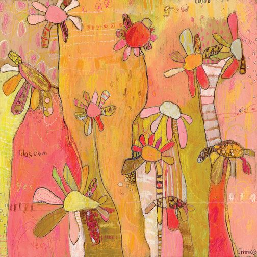 Sprouting Flowers Canvas Print by Jennifer Mercede  14X14 via Etsy.