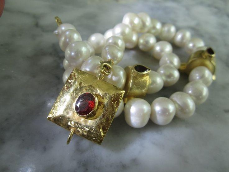 Perlenketten - Perle Choker Armband Granat Kette Hochzeit Tahiti - ein Designerstück von TOMKJustbe bei DaWanda